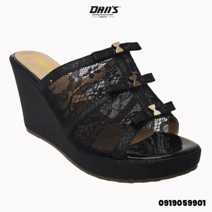 DANS Ladies Wedges Shoes -Black/Gold 0919059901(N5)